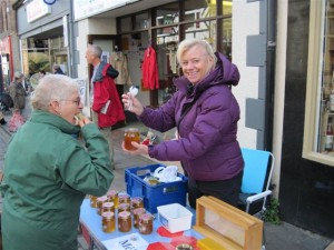 Selling honey at Conwy Honey Fair