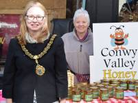 Mayor of Conwy at a stall