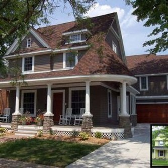 Astonishing Exterior Paint Colors Ideas For House With Brown Roof 34