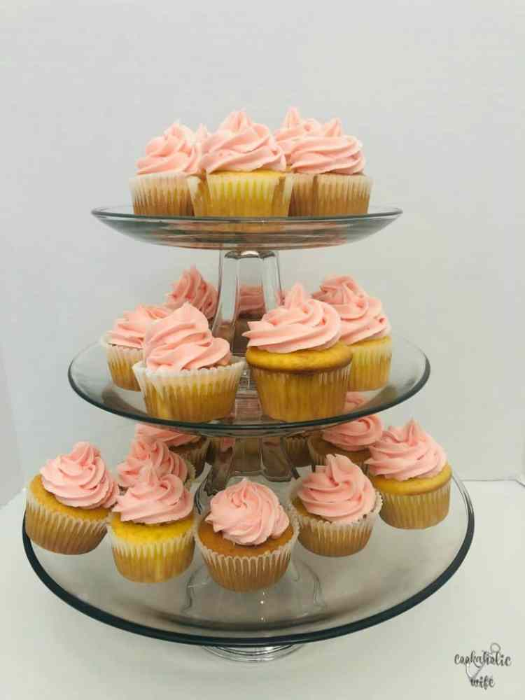 lemon cupcakes with lemon curd and strawberry buttercream
