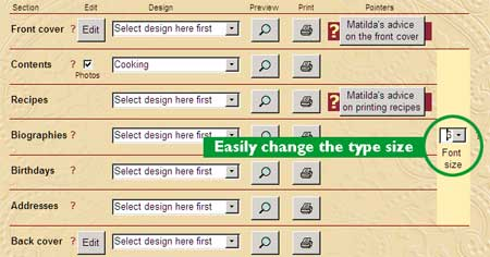 Changing the Cookbook Font Size