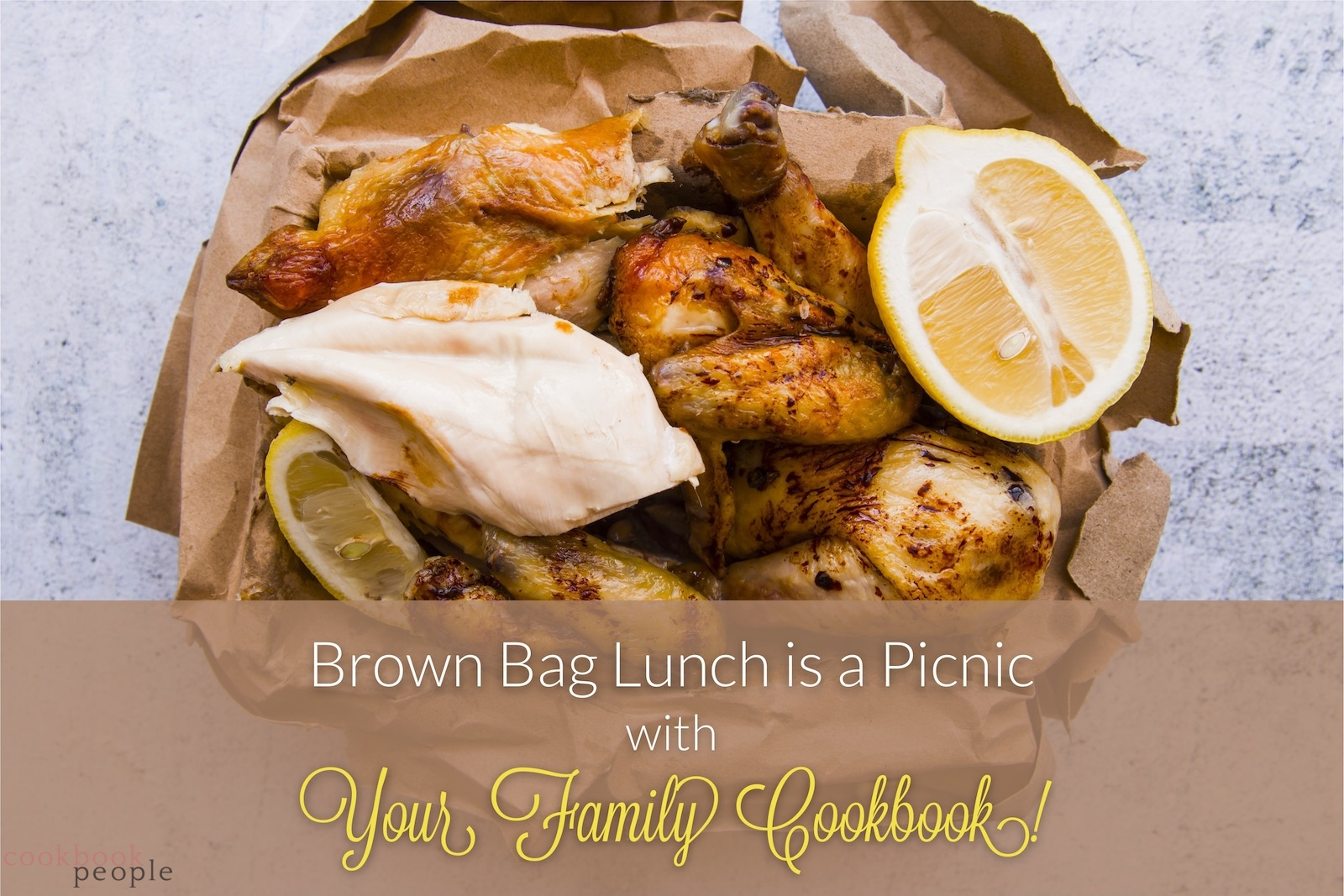 chicken lunch in squashed brown bag