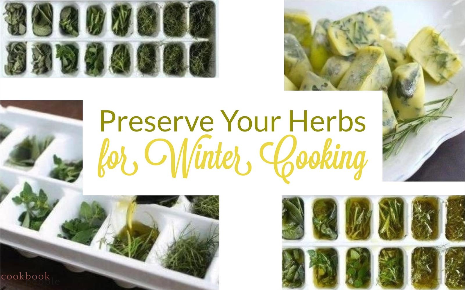 herbs in ice-cube containers covered with olive oil. Text: Preserve Your Herbs for Winter Cooking