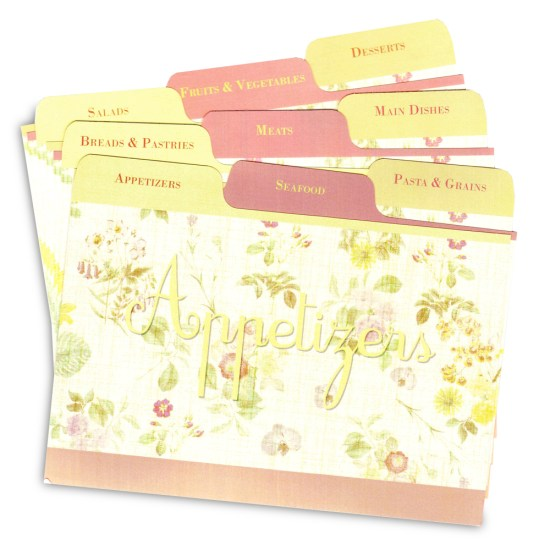 "Pretty ""Lemon Linen"" design recipe card dividers"