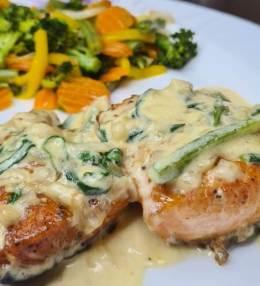 Creamy Salmon with Veg Stir Fry