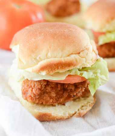 crispy chicken slider on a white surface