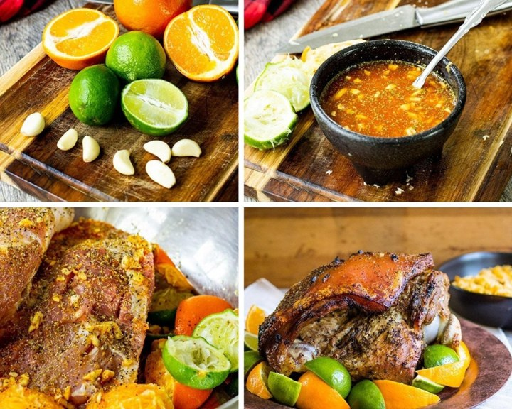 a photo collage with four photos showing the recipe process.