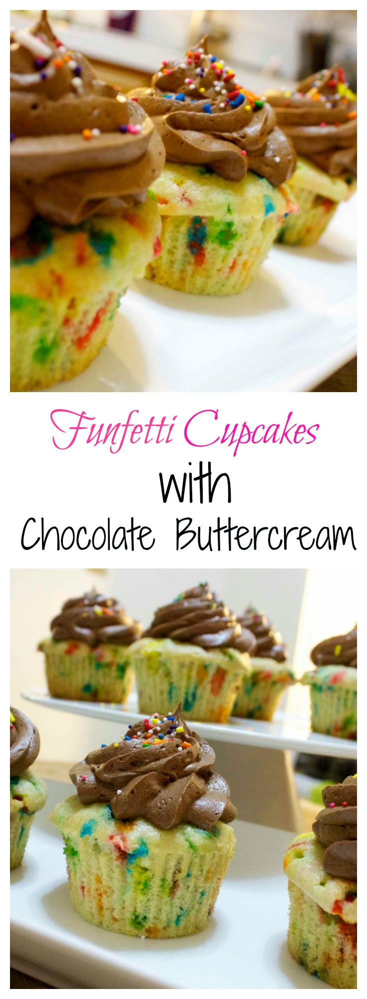 Funfetti Cupcakes with Homemade Chocolate Buttercream from Scratch