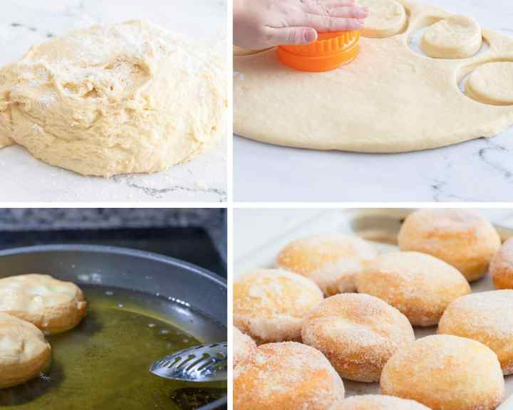 a collage with four photos. A photo with a ball of dough and flour in the background, a photo of rolled out dough with a hand with an orange object cutting out donuts, two donuts frying in a skillet with oil, and a fourth picture showing a pan filled with donuts.