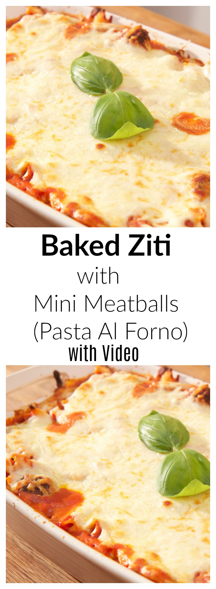 Baked Ziti with Mini Meatballs - recipe with video