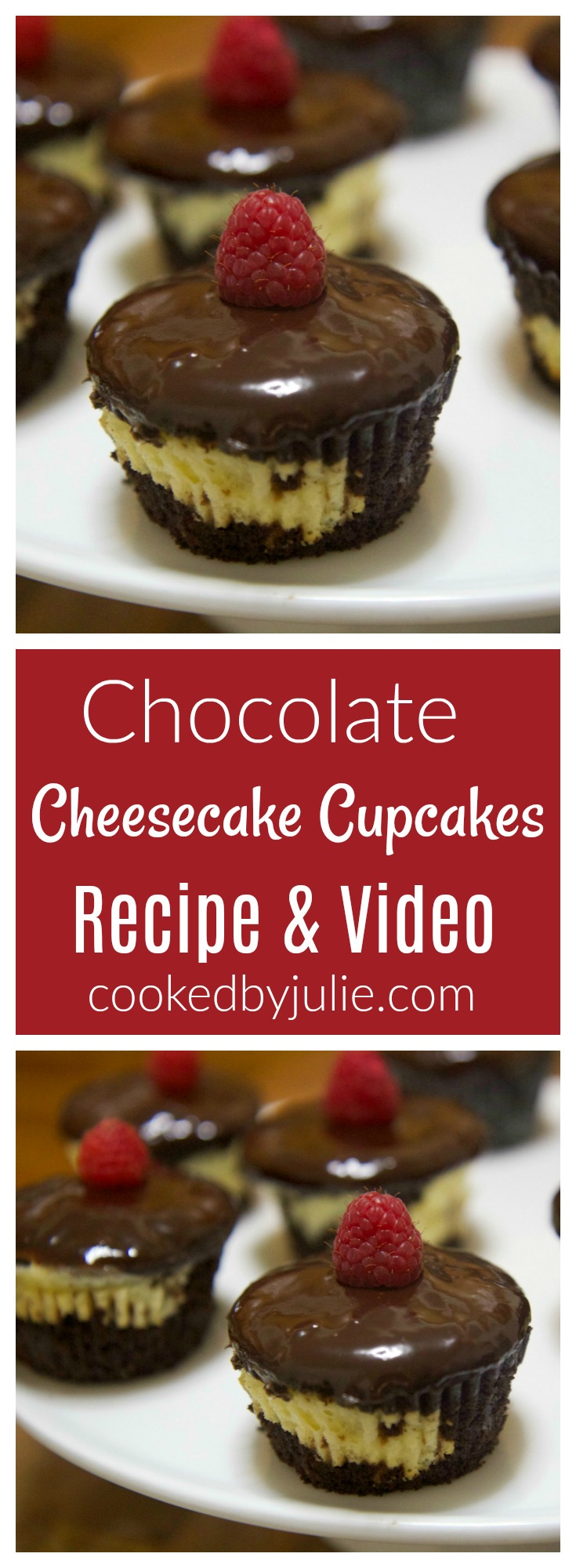 Homemade Chocolate Cheesecake Cupcakes | Recipe & Video from Cooked By Julie