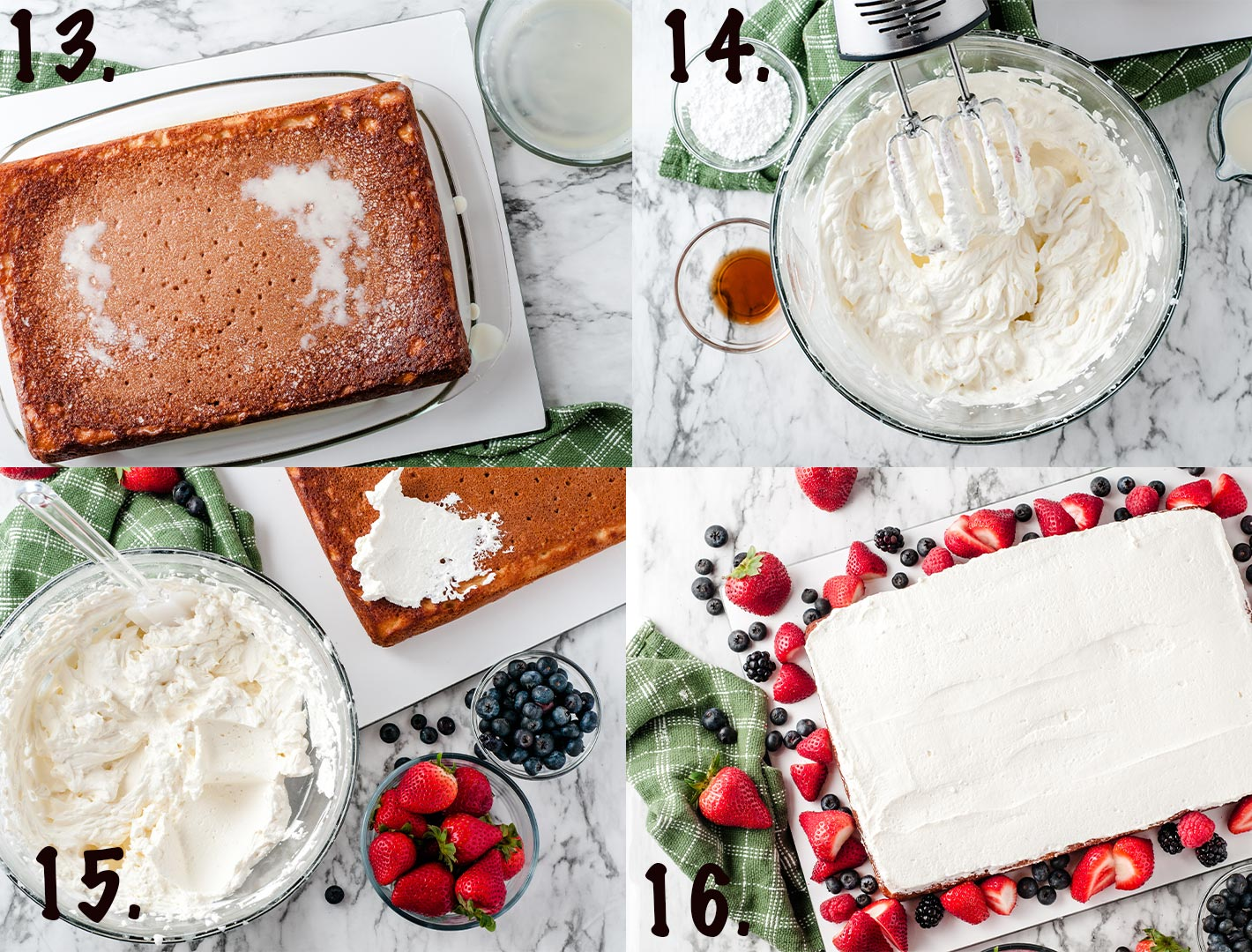 collage with 4 photos of whipped cream ingredients and step by step process