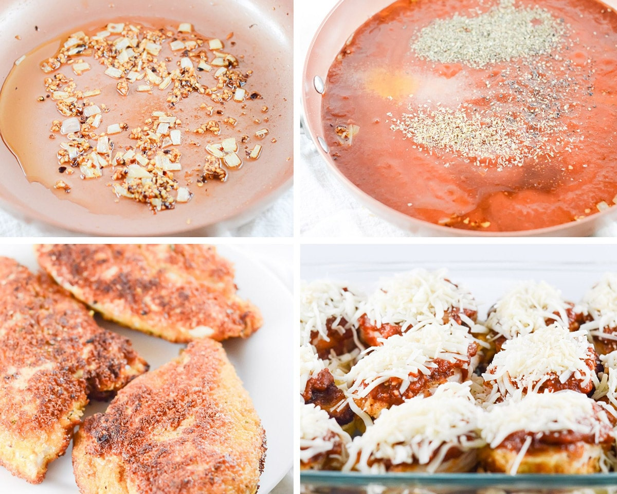 collage with photo photos. A skillet with onions and red crushed pepper, a skillet with tomato sauce and spices, and chicken cutlets with mozzarella cheese and sauce.