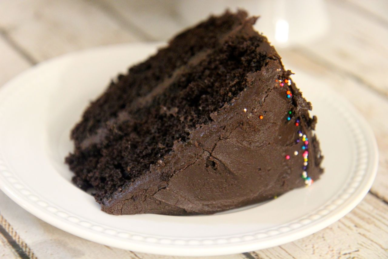 This chocolate fudge cake is like eating a giant frosted brownie.