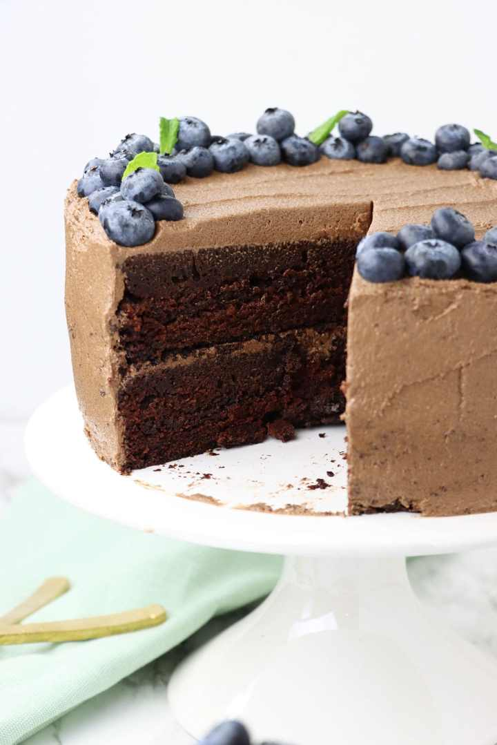 chocolate cake with a slice missing.