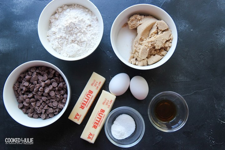 ingredients in small bowls, butter, and eggs