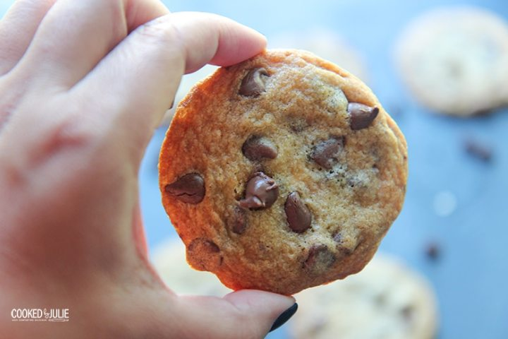 hand holding a chocolate chip cookie