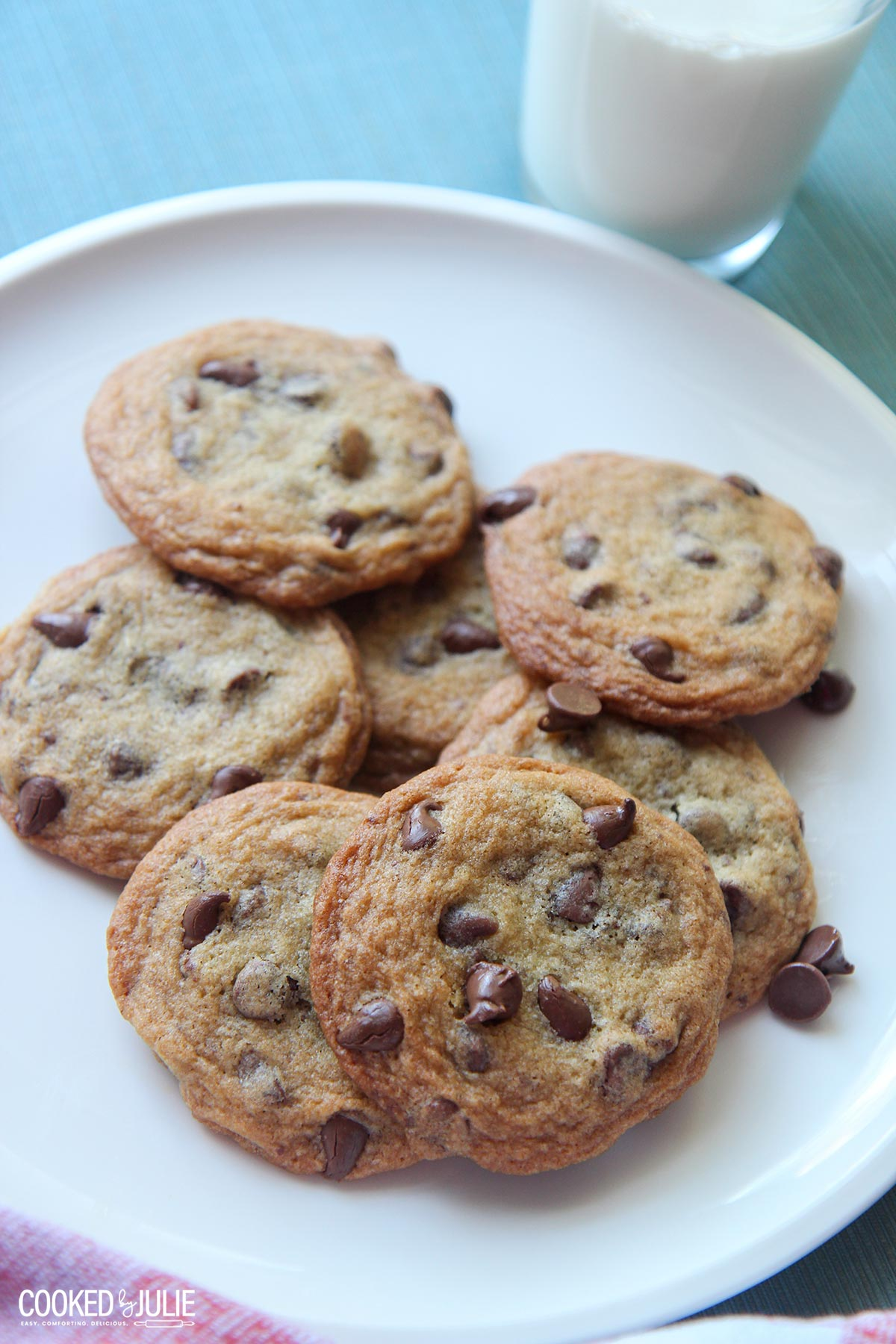 chocolate chip cookies on a white plate with a glass of milk