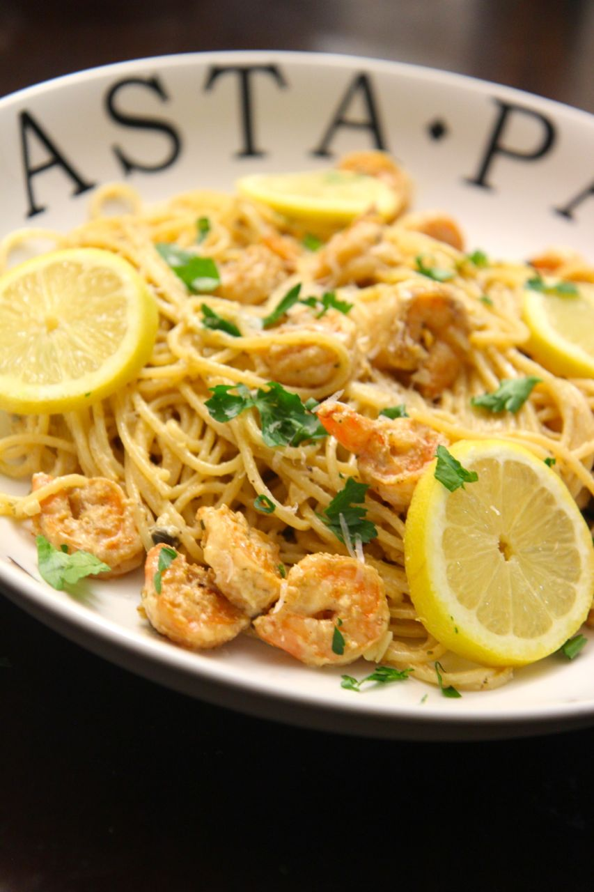 This creamy lemon garlic pasta with shrimp is the perfect at-home date night meal.