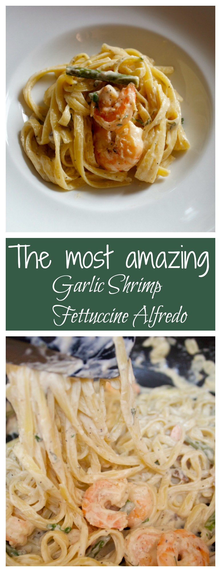 This is the most amazing garlic shrimp fettuccine alfredo from Cooked by Julie!
