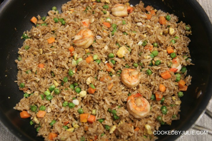 Your favorite takeout fried rice can now be made right at home! This shrimp fried rice recipe is better than takeout and easy to make!