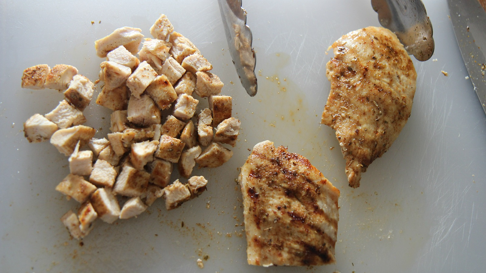Cubed the grilled chicken into bite sized pieces.
