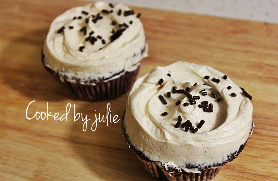Chocolate Cupcakes with Vanilla Buttercream | Cooked by Julie