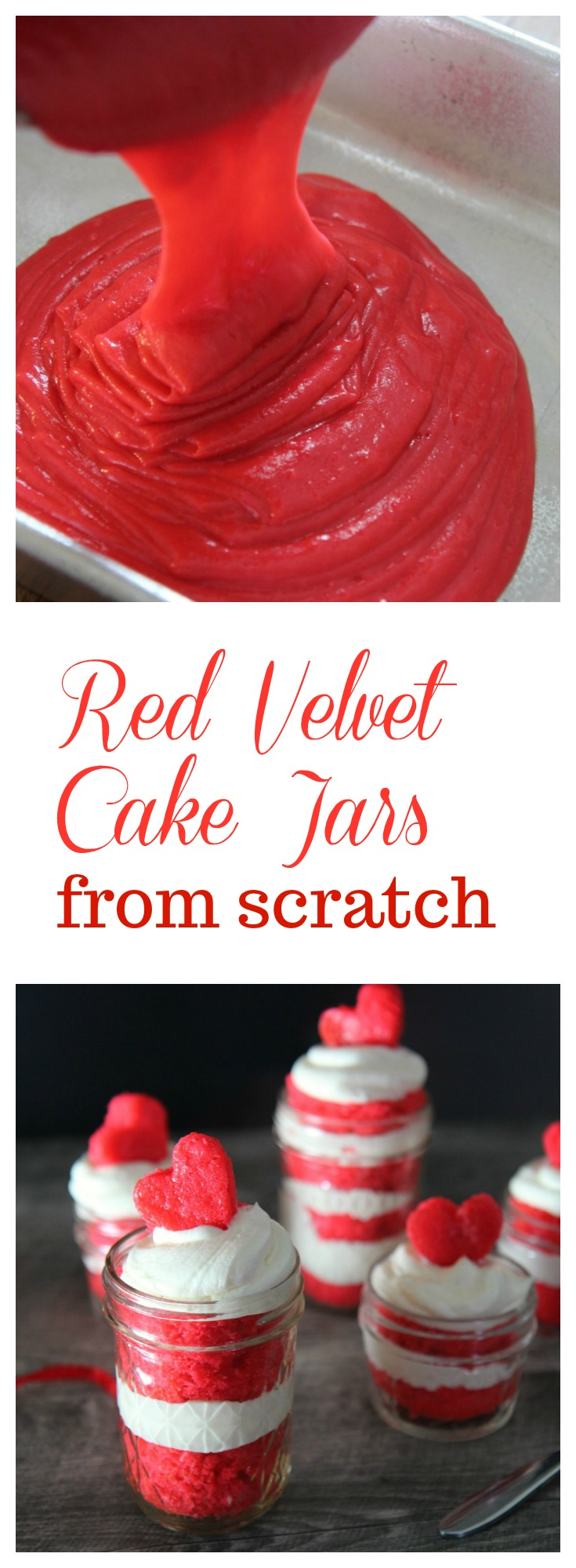 Learn how to make these Red Velvet Cake Jars from scratch at CookedbyJulie.com