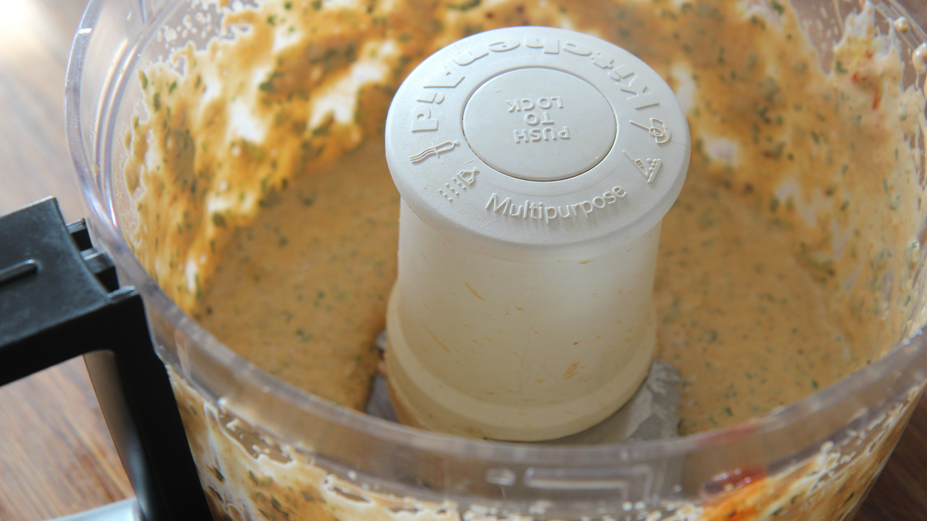 Remoulade sauce in a food processor.