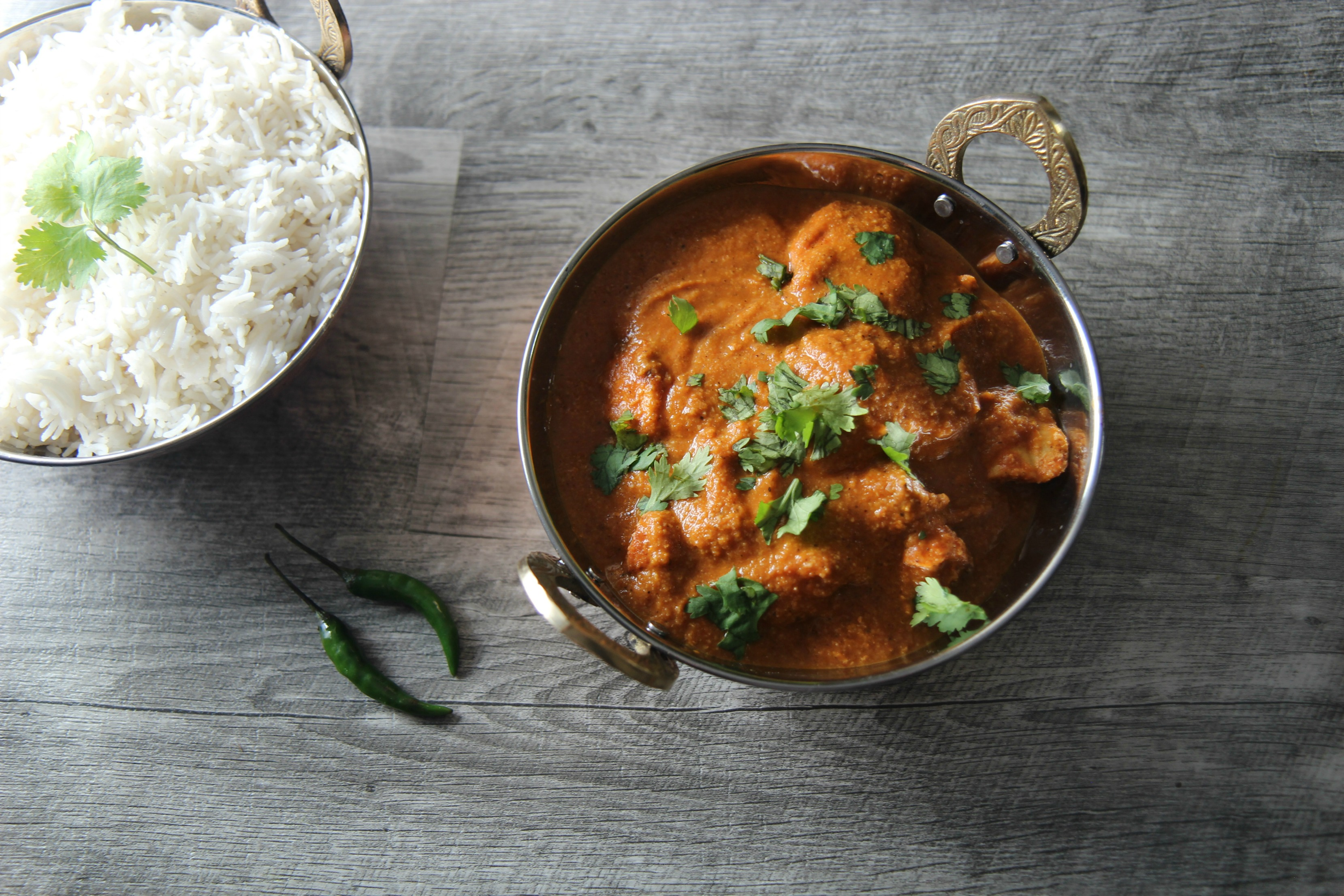 Healthy and tasty Indian food served with white rice.