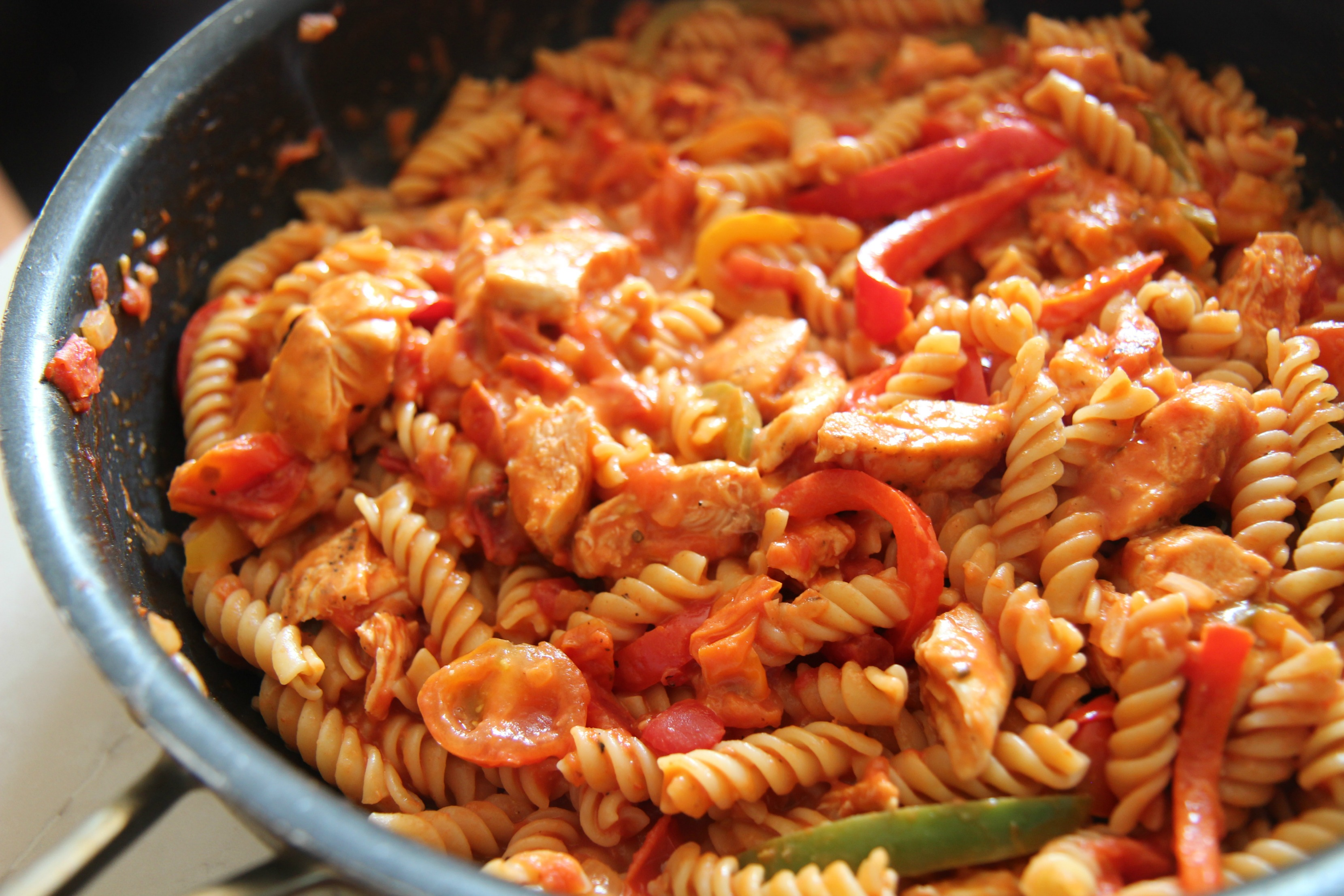 his chicken fajita pasta makes for perfect leftovers.