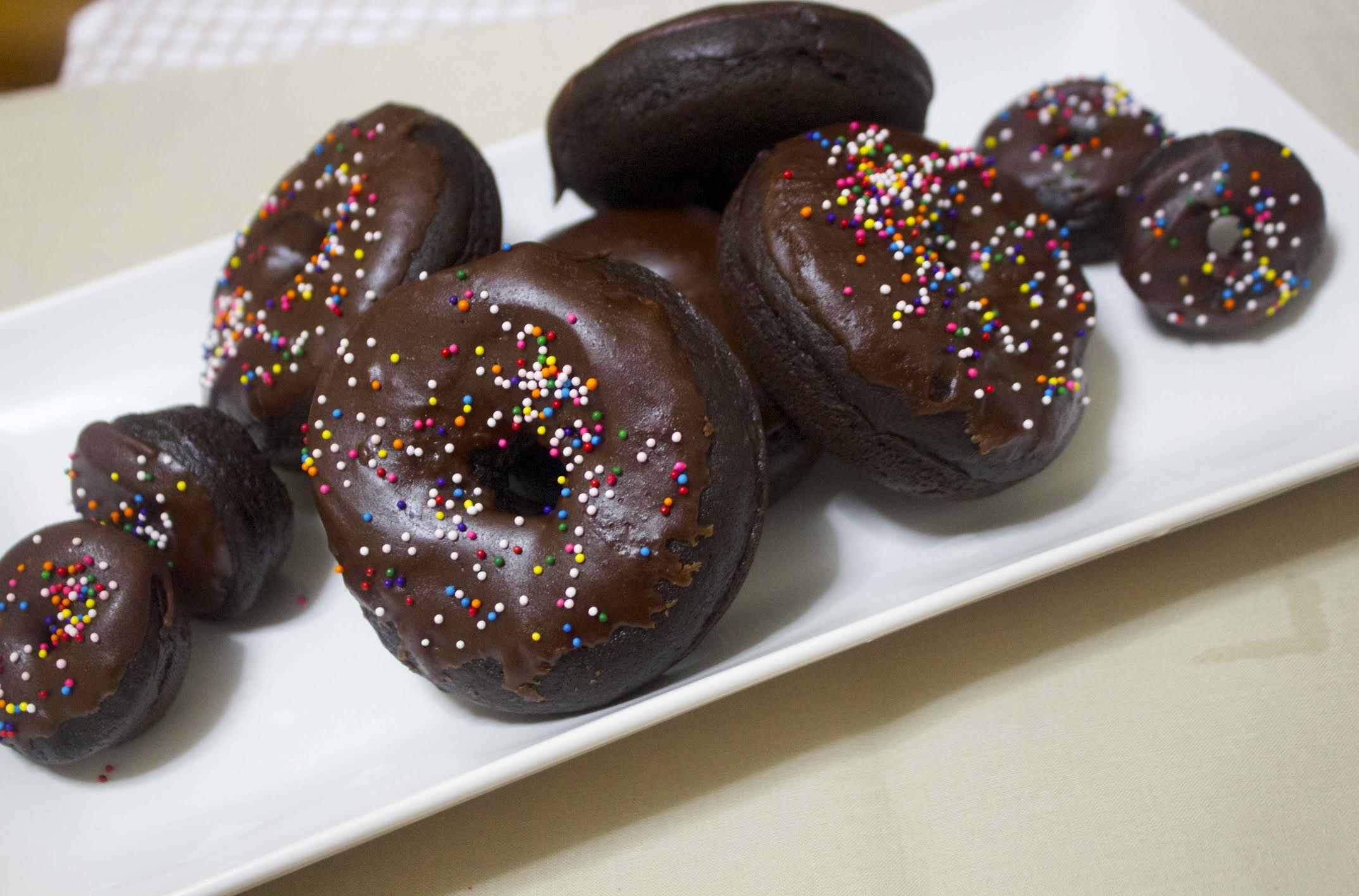 chocolate donuts with nonpareils
