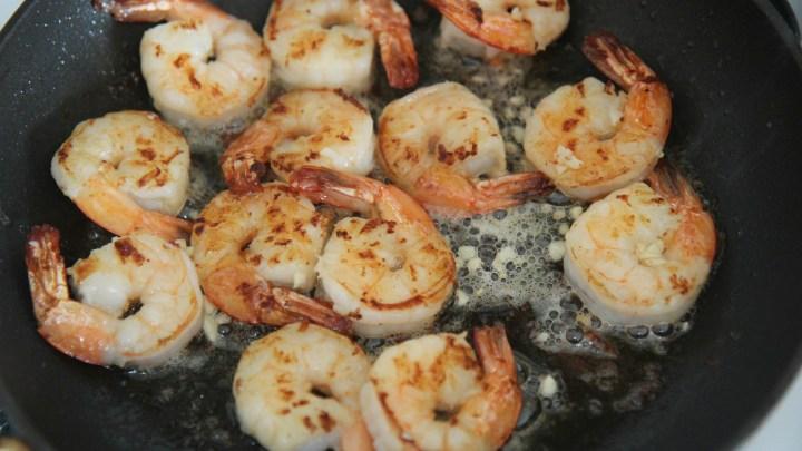 shrimp in a black skillet