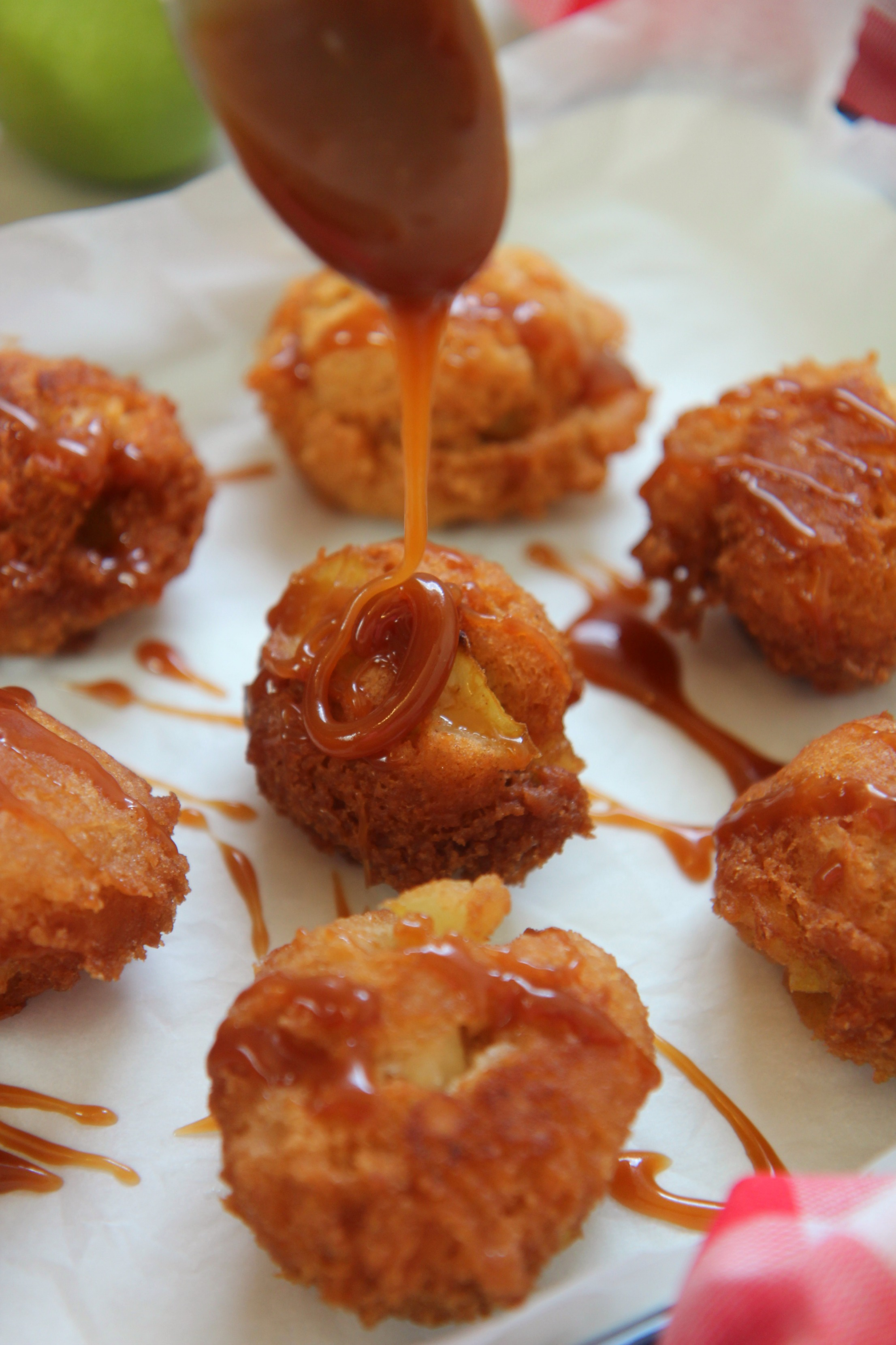 Caramel drizzled apple fritters are a perfect sweet dessert