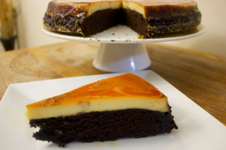 Nice healthy slice of flan with the glaze on top.