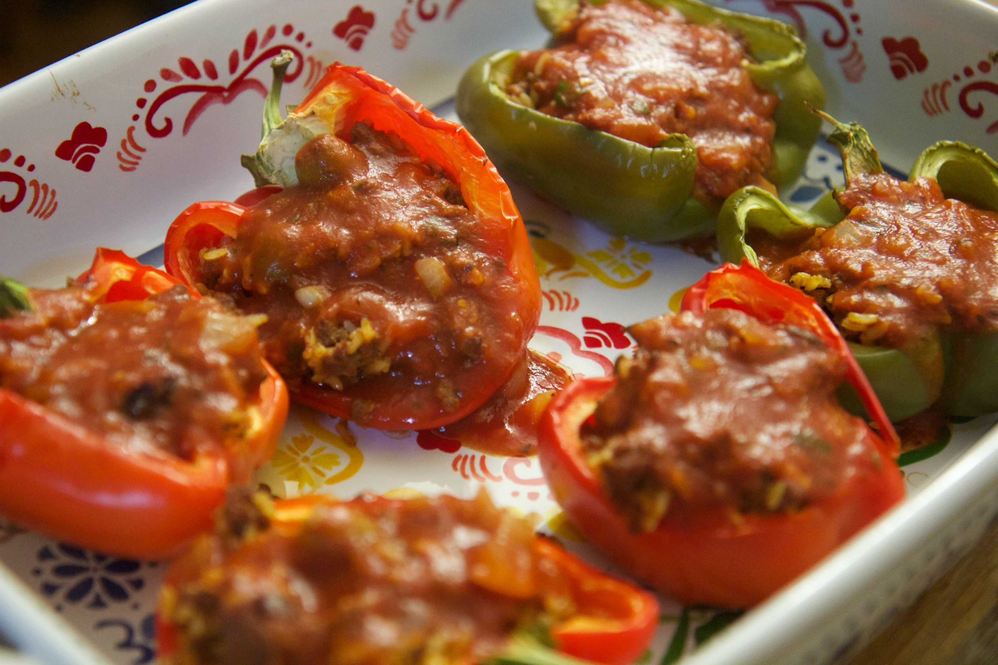 Cuban Stuffed Bell Peppers perfect with a tomato and avocado side salad!