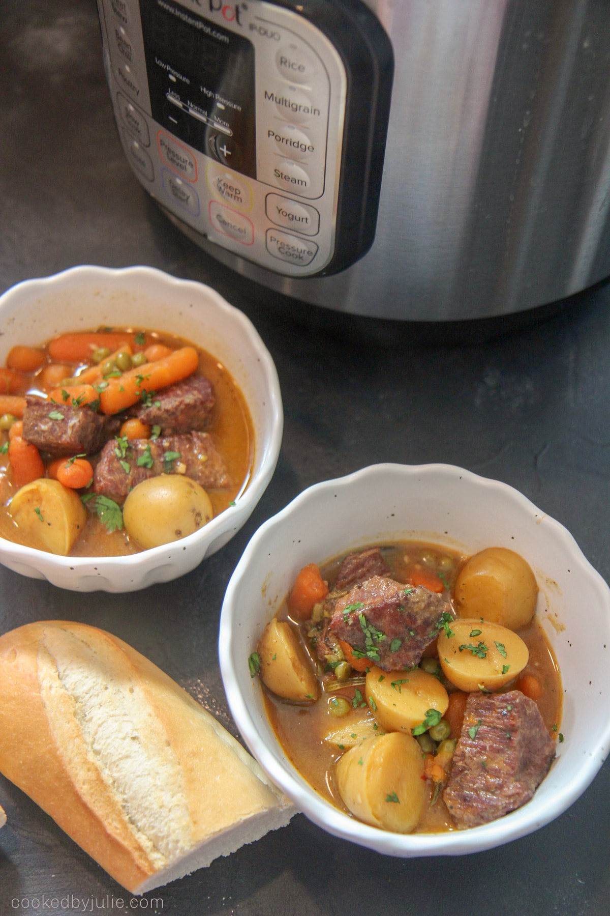 bowls of instant pot beef stew