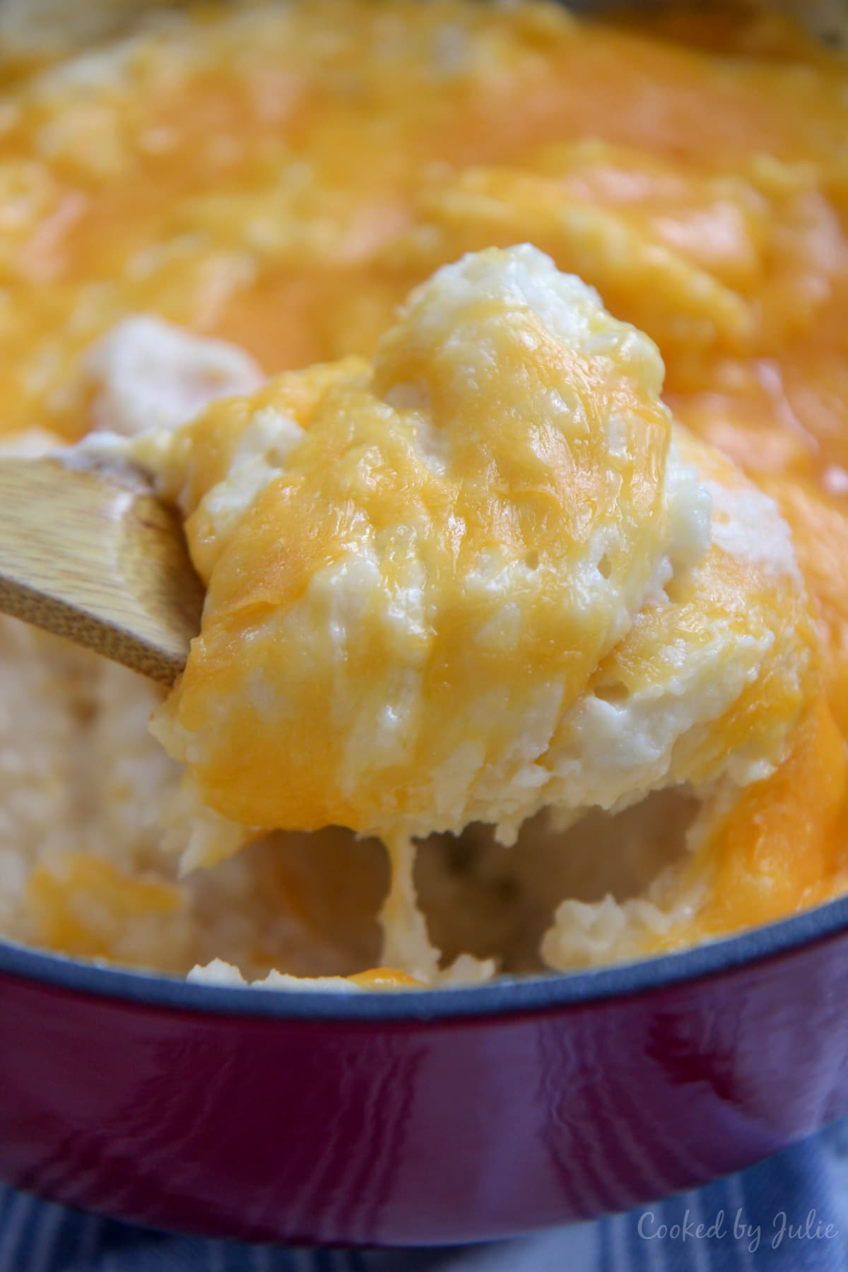 spoonful of cheddar mashed potatoes