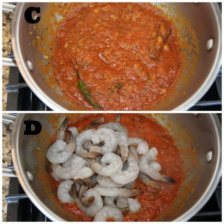 photo collage of shrimp curry cooking steps