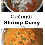 coconut shrimp curry in a pot raw and cooked.