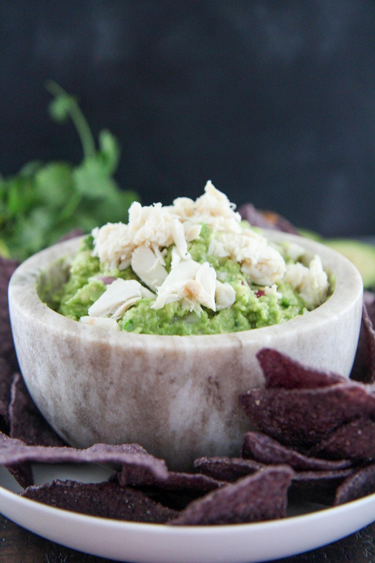 crab guacamole in a gray small bowl with purple chips on the side