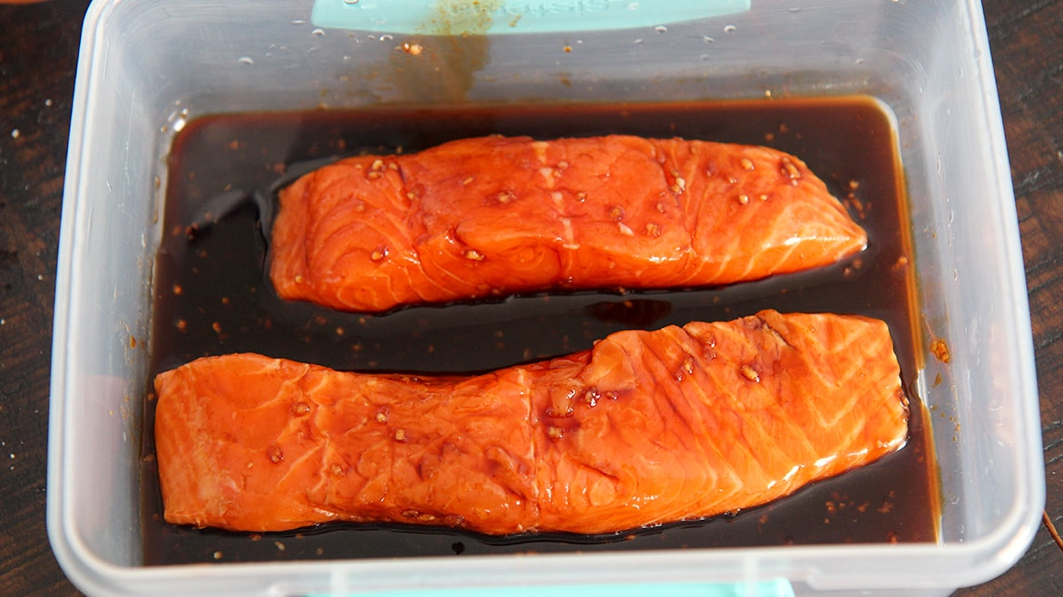 marinated salmon in a container