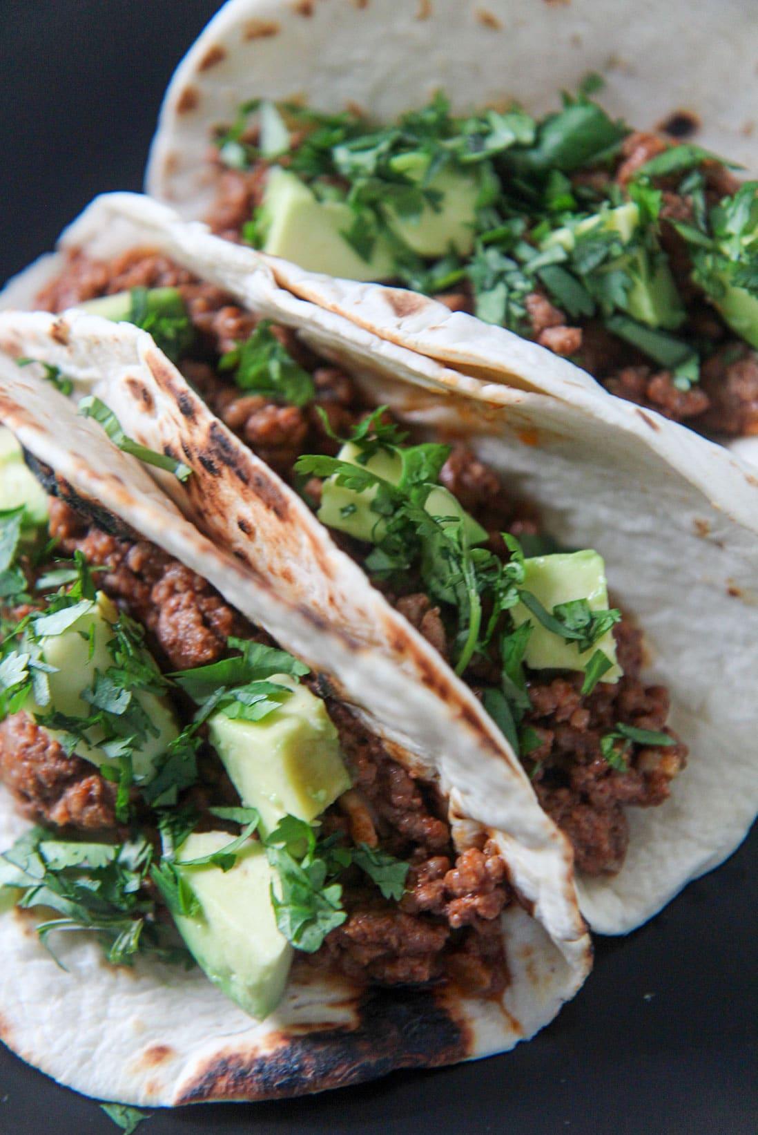 tacos with cajun ground beef