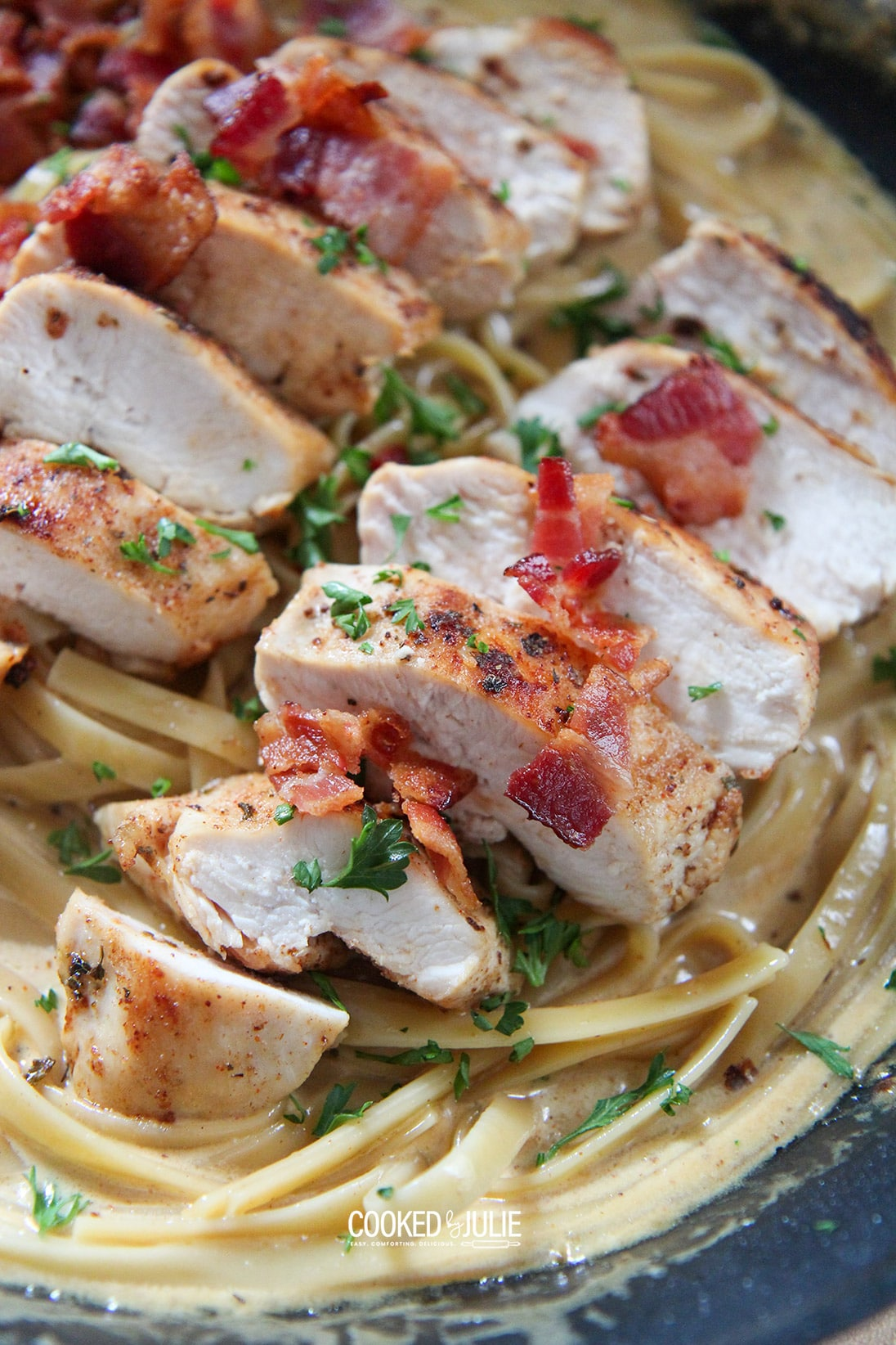 chicken, bacon, and fettuccine in a black skillet
