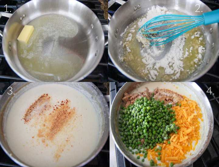 four cooking tutorial step by step photo collage