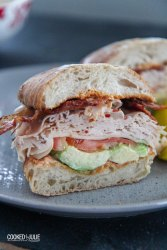 turkey bacon avocado sandwich on a gray plate