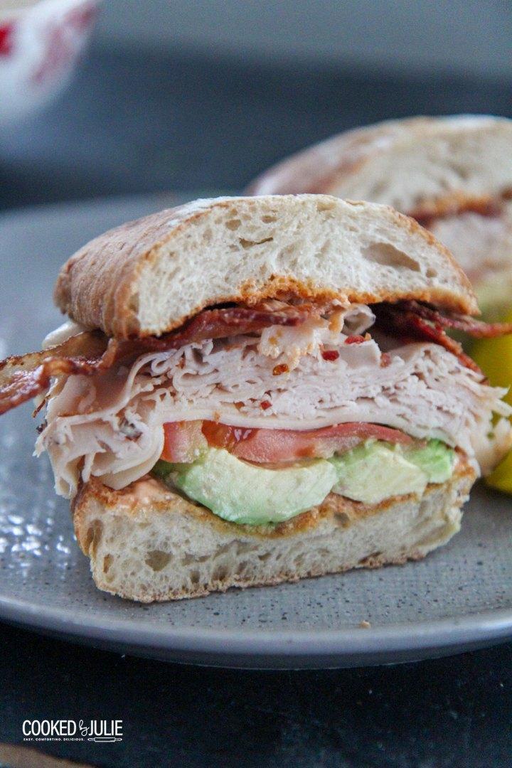 turkey bacon avocado sandwich on a gray plate