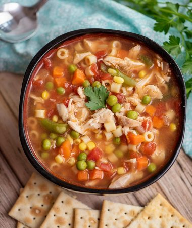instant pot chicken vegetable soup in a bowl with saltine crackers