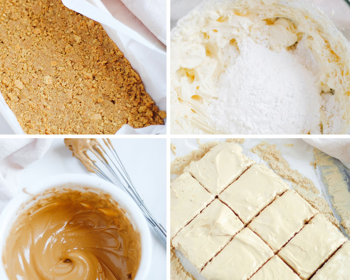 a collage with four photos. A square baking dish with parchment paper and crushed graham crackers. A bowl with powdered sugar and cream cheese. A bowl with dalgona coffee mixture. A photo of squared cheesecake slices.