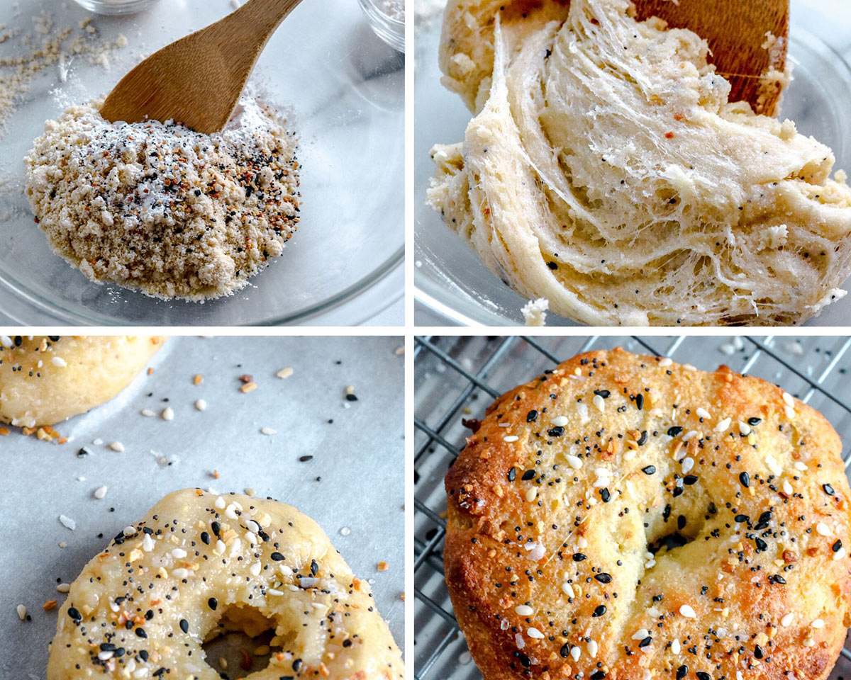 a collage with four photos, a bowl with almond flour, everything bagel seasoning, a wooden spoon and a photo with raw bagels and another photo with a baked bagel.